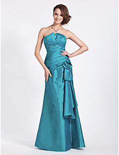 Lanting Bride® Floor-length Taffeta Bridesmaid Dress Trumpet / Mermaid Strapless / Notched Plus Size / Petite withFlower(s) / Side
