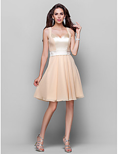 TS Couture Cocktail Party Homecoming Wedding Party Dress - Short A-line Princess Sweetheart Straps Knee-length Chiffon withDraping Sash /