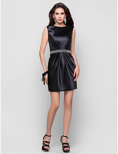 TS Couture Cocktail Party Dress - Black Plus Sizes / Petite Sheath/Column Jewel Short/Mini Satin