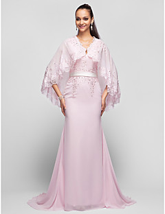 TS Couture® Prom / Formal Evening / Military Ball Dress - Elegant Plus Size / Petite A-line / Princess V-neck Sweep / Brush Train Chiffon with Beading