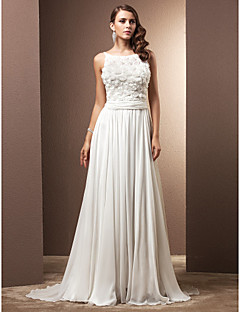 Lan Ting Sheath/Column Plus Sizes Wedding Dress - Ivory Sweep/Brush Train Straps Chiffon