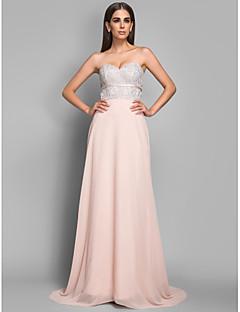 Sheath/Column Sweetheart Sweep/Brush Train Chiffon and Lace Evening/Prom Dress(605454)