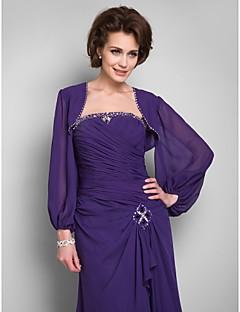 Wedding  Wraps Coats/Jackets Long Sleeve Chiffon Grape Wedding / Party/Evening / Office & Career / Casual Beading Open Front No