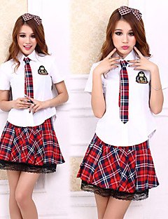Preppy Look Vit skjorta Röd Check Pattern Skirt School Girl uniform