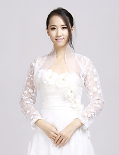 Wedding  Wraps Coats/Jackets Long Sleeve Lace White Wedding / Party/Evening / Office & Career / Casual Lace / Ruffles Open Front No