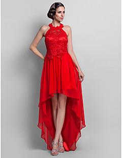 Formal Evening/Prom Dress - Ruby Plus Sizes Sheath/Column High Neck Asymmetrical Chiffon/Lace