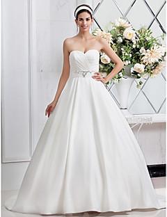 LAN TING BRIDE Trapèze Princesse Robe de mariée - Chic & Moderne Brillant & Séduisant Tout Simplement Superbe Traîne Brosse Coeur Satin