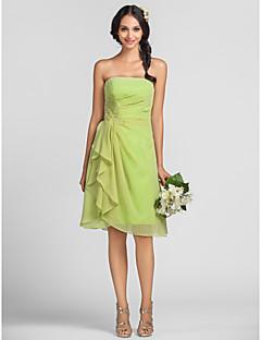 Vestido de Madrinha - Verde Lima Tubo/Coluna Sem Alça Coquetel Chiffon Tamanhos Grandes