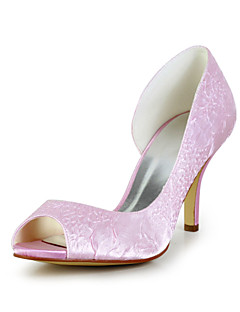 Women's Wedding Shoes Peep Toe Heels Wedding Pink