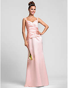 Formal Evening / Wedding Party / Military Ball Dress Sheath / Column Straps Floor-length Satin with Appliques / Beading / Side Draping