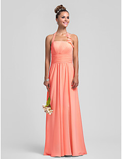 Lanting Bride® Floor-length Chiffon Bridesmaid Dress - Mini Me Sheath / Column Halter Plus Size / Petite withDraping / Ruffles / Pleats /