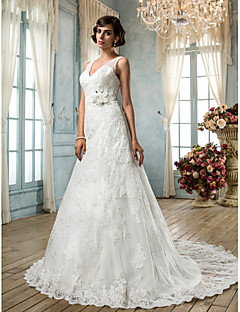 Lanting Bride® A-line Petite / Plus Sizes Wedding Dress - Classic & Timeless / Glamorous & Dramatic Vintage Inspired / Open BackSweep /
