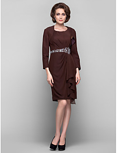 Dress - Plus Size / Petite Sheath/Column Scoop Knee-length Chiffon