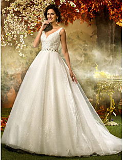 Lanting Bride A-line / Princess Petite / Plus Sizes Wedding Dress-Sweep/Brush Train V-neck Tulle / Sequined