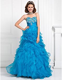 Vestido - Azul Baile de Formatura/Festa Formal/festa 15 anos/Vestidos de 15 Anos Baile/Linha-A/Princesa Curação Longo OrganzaTamanhos