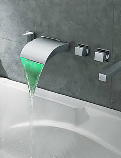 現代風 ローマンバスタブ LED / 滝状吐水タイプ with  セラミックバルブ 3つのハンドル5つの穴 for  クロム , 浴槽用水栓