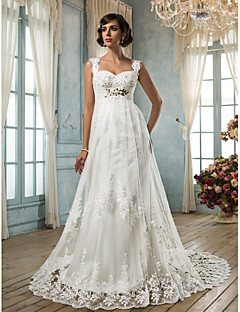 Lanting Sheath/Column Plus Sizes Wedding Dress - Ivory Court Train Square Tulle