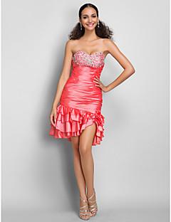 Vestido - Sandía Corte Recto Corto - Escote Corazón Tafetán Tallas grandes