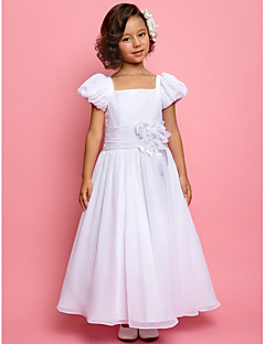 A-line/Princess Ankle-length Flower Girl Dress - Chiffon/Stretch Satin Short Sleeve
