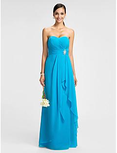Kleid - Blau Chiffon - Etui-Linie - bodenlang - Herz-Ausschnitt