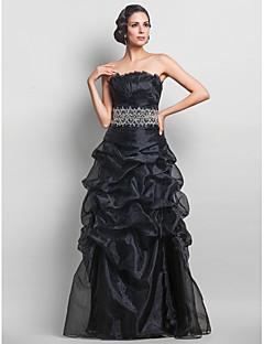 저녁 정장파티/프롬/밀리터리 볼 드레스 - 블랙 A라인 바닥 길이 스트랩 없음 오르간자 플러스 사이즈