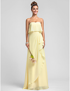 Lanting Bride Floor-length Chiffon Bridesmaid Dress Sheath / Column Strapless Plus Size / Petite with Ruffles / Cascading Ruffles