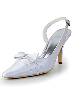 Bridal Satin Stiletto Sandals with Bowknot Wedding/Special Occasion Shoes(More Colors)