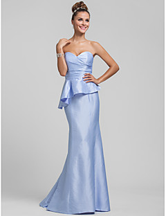 Sweep / Brush Train Taffeta Bridesmaid Dress - Trumpet / Mermaid Sweetheart Plus Size / Petite with Ruffles / Side Draping