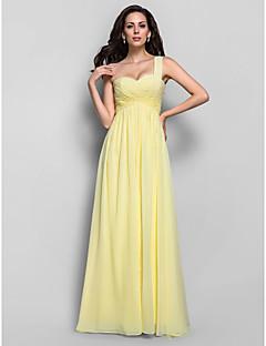 저녁 정장파티/프롬/밀리터리 볼 드레스 - 다포딜 시스/컬럼 바닥 길이 원 숄더 쉬폰 플러스 사이즈