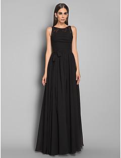 저녁 정장파티/밀리터리 볼 드레스 - 블랙 시스/컬럼 바닥 길이 보석 쉬폰