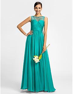 lanting 들러리 드레스 바닥 길이 쉬폰와 얇은 명주 그물 피복 열 특종 드레스