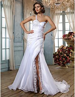 Lanting Bride® בתולת ים \ חצוצרה קטן / מידה גדולה שמלת כלה - קלסי ונצחי / זוהר ודרמטיות בהשפעת וינטאג' שובל סוויפ \ בראש מחשוף לב אורגנזה