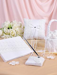 Frühjahr Blumen entworfen Hochzeit Sammlung in weißem Satin und Spitze gesetzt (4 Stück)