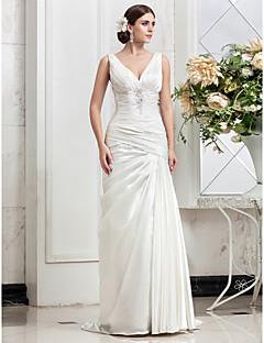 웨딩 드레스 - 아이보리(색상은 모니터에 따라 다를 수 있음) A 라인 스위프/브러쉬 트레인 V 넥 스트래치 새틴 플러스 사이즈
