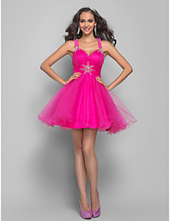 homecoming prom / thuiskomst / cocktail party dress - fuchsia grote maten a-lijn / prinses bandjes korte / mini tule
