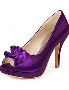 Women's Shoes Satin / Stretch Satin Spring / Summer / Fall Peep Toe Wedding Stiletto Heel Ruffles Purple