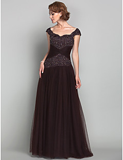 A-line Plus Sizes Mother of the Bride Dress - Chocolate Floor-length Sleeveless Tulle