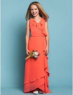 Lanting Bride® Asymmetrical Chiffon Junior Bridesmaid Dress Sheath / Column V-neck Natural withRuffles / Sash / Ribbon / Cascading