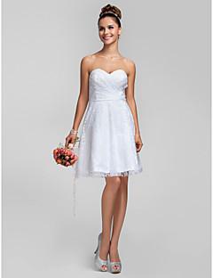 Lanting Knee-length Lace Bridesmaid Dress - White Plus Sizes / Petite A-line / Princess Sweetheart