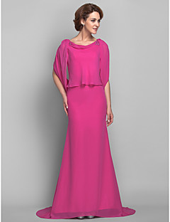Lanting Trumpet/Mermaid Plus Sizes / Petite Mother of the Bride Dress - Fuchsia Sweep/Brush Train Half Sleeve Chiffon