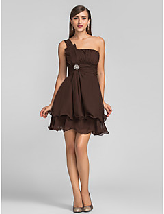 Homecoming Cocktail Party/Wedding Party Dress - Chocolate Plus Sizes A-line One Shoulder Short/Mini Chiffon