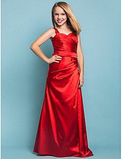 Floor-length Stretch Satin Junior Bridesmaid Dress - Ruby Sheath/Column Straps
