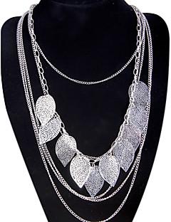 Femme Pendentif de collier Colliers Déclaration Forme de Feuille Alliage Mode Bohême Multicouches Long bijoux de fantaisie Bijoux Pour