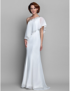 A-line Plus Size / Petite Mother of the Bride Dress Floor-length Sleeveless Chiffon with Beading / Ruffles