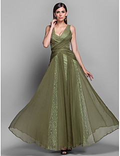 Formal Evening/Military Ball Dress - Multi-color Plus Sizes A-line/Princess V-neck Floor-length Chiffon/Lace