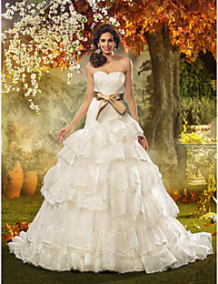 Fit & Flare Plus Sizes Wedding Dress - Ivory Court Train Strapless Lace/Organza