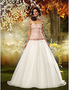 Lanting Bride Fit & Flare Petite / Plus Sizes Wedding Dress-Sweep/Brush Train Strapless Lace / Organza