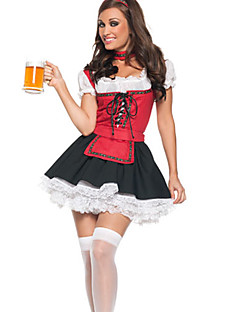 Cosplay Costumes Party Costume Oktoberfest/Beer Waiter/Waitress Career Costumes Festival/Holiday Halloween Costumes Red/black Patchwork