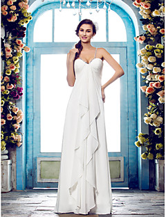 Lanting Sheath/Column Plus Sizes Wedding Dress - Ivory Floor-length Spaghetti Straps Chiffon