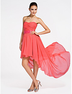 Asymmetrical / Short/Mini Chiffon Bridesmaid Dress - WatermelonApple / Hourglass / Inverted Triangle / Pear / Rectangle / Plus Sizes /